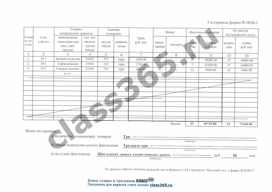инвентаризационная опись образец заполнения инв-3 img-1